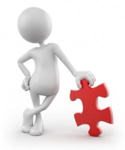 3d man w puzzle piece