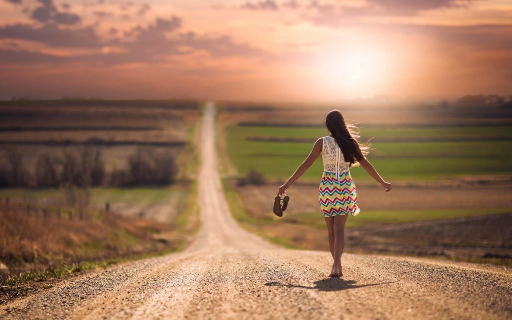 Lonely-Girl-Walking-On-Road-Wallpaper