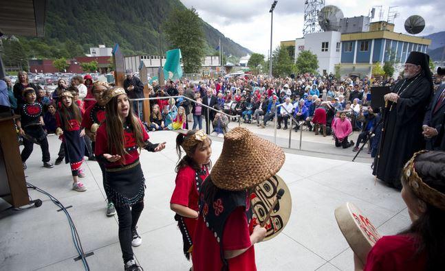Bishop David of Sitka and All Alaska observes the ceremonies after giving the invocation